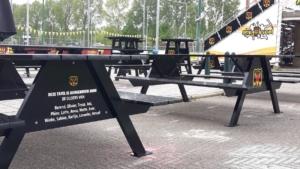 Jubileumgeschenk: aluminium picknicktafel